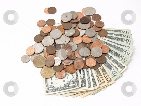 Money stock photo, US Bank notes fanned out with different denominations, and US coins spilled over the top. Studio isolated over a white background. by Robert Gebbie