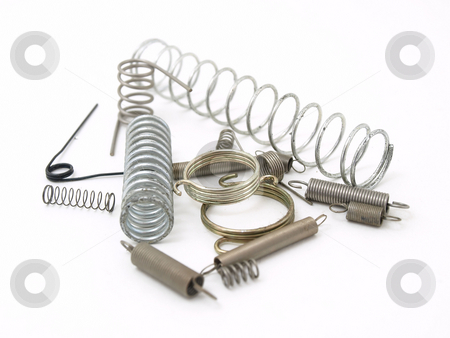 Springs and Things stock photo, A set of miscellaneous wire springs isolated on a white background. by Robert Gebbie