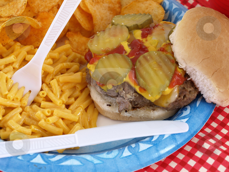 Picnic Burger stock photo, Delicious picnic barbecue fare, homestyle burger, macaroni and cheese, and chips. Served on a paper blue plate, with disposable plastic fork and knife. by Robert Gebbie