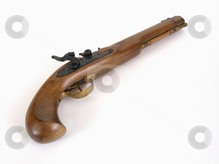 Black Powder Pistol stock photo, A single shot black powder muzzle loading pistol angled on a white background with room for text. by Robert Gebbie