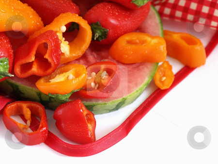 Colorful Veggies and Fruit stock photo, A vibrant summer crop of fresh juicy watermelon and colorful bell peppers, with water drops, studio isolated over a white background. by Robert Gebbie
