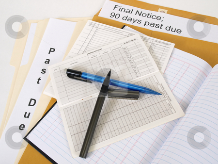 Debt stock photo, Past due notices and final notices, the debt never ends. Over white. by Robert Gebbie