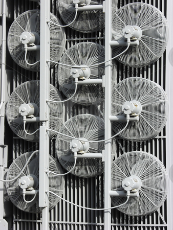 Power Station Cooling Fans stock photo, Rear view of cooling fans at a power station. by Robert Gebbie