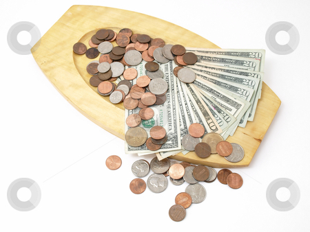 US Currency and Coins stock photo, A wooden tray with US currency and coins. Studio isolated over a white background. by Robert Gebbie