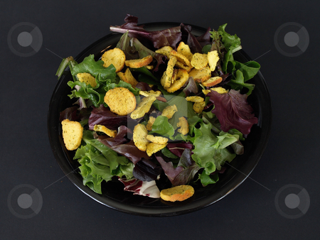 Salad and Crutons stock photo, A black plate of salad with crutons and green and purple leaves over a black background. by Robert Gebbie
