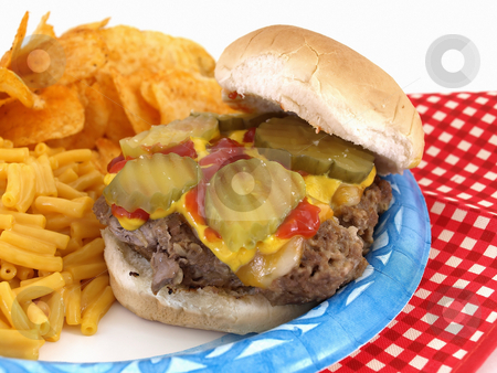 Burger and Sides stock photo, Delicious picnic barbecue fare; homestyle burger; macaroni and cheese; and chips. Served on a paper blue plate; with disposable plastic fork and knife. by Robert Gebbie