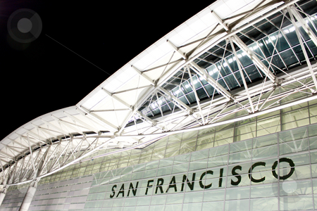 San Francisco International Aiport stock photo, Part of the roof at San Francisco airport taken at night by Hieng Ling Tie