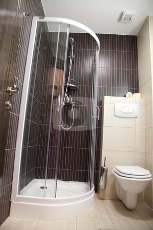 Hotel bathroom stock photo, Hotel elegant bathroom empty with brown  color by Adrian Costea