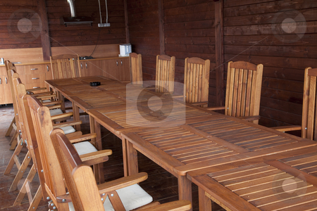 Rustic table stock photo, Modern restaurant empty in brown elegant style by Adrian Costea