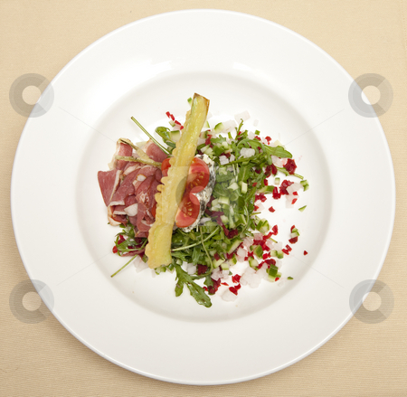 Food plate stock photo, Macro close-up food plates on the table by Adrian Costea