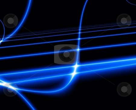 Dance of Blue Lights in the dark. stock photo, Dance of Blue Lights in the dark. Computer generated abstract background. by Germán Ariel Berra