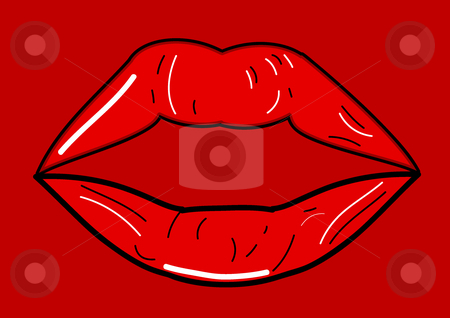 Lips stock vector clipart, This is a cartoon of red lips by Veronika Pilatova