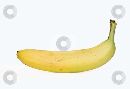 Banana stock photo, Sigle banana isolated on white background by ANTONIO SCARPI