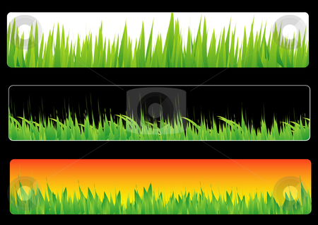 Grass banners stock vector clipart, This is a set of three grass banners by Veronika Pilatova