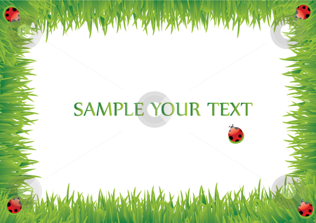 Grass frame with beetle stock vector clipart, This is a grass frame with beetle by Veronika Pilatova