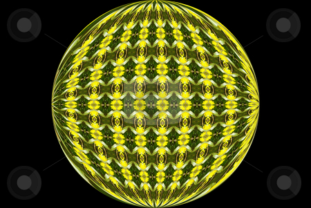Gold and Green Orb stock photo, Gold and green orb on black background by Sandra Fann