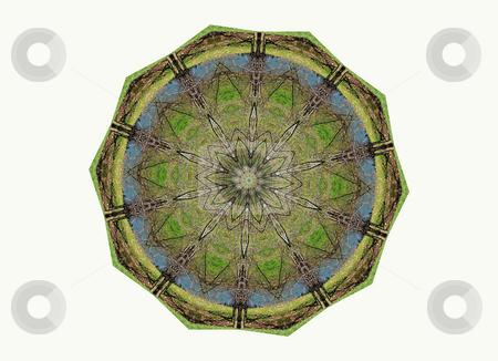 Mossy stock photo, Mossy green, earthy looking mandala by Sandra Fann