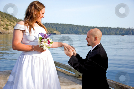 Groom Placing Ring on Bride's Finger stock photo, This groom is on his knees putting the ring on his young bride's finger on a dock in a beautiful ocean setting. by Valerie Garner
