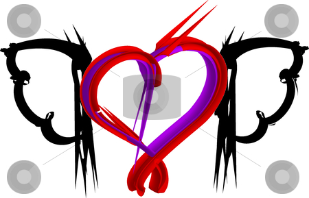 Heart with wing stock vector clipart, This is a 3D heart with black wings by Veronika Pilatova