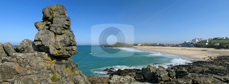 Panoramic view of  Carrick Du headland and Porthmeor beach in St. Ives. stock photo, Panoramic view of  Carrick Du headland and Porthmeor beach in St. Ives. by Stephen Rees