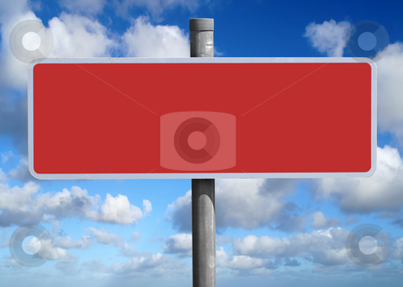 Wide blank red sign. stock photo, Wide blank red sign. by Stephen Rees