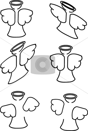 Angels stock vector clipart, This is a set of different angels in outline by Veronika Pilatova