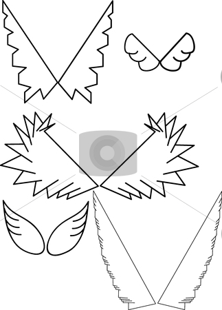 Wing stock vector clipart, This is a set of five wings by Veronika Pilatova