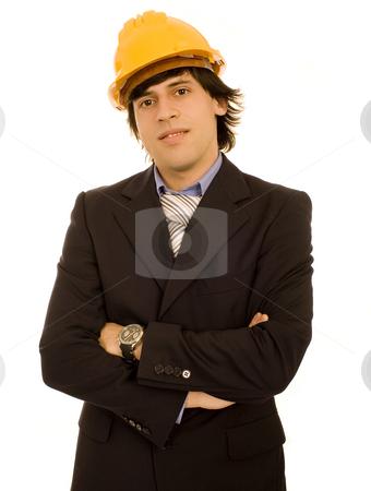 Yellow helmet man stock photo, Yellow helmet man white isolate by Marc Torrell