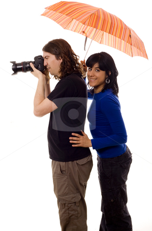 Tourist couple stock photo, Tourist couple and umbrella white isolate by Marc Torrell