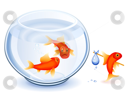 Goldfish emancipation stock vector clipart, Goldfish moving from his fishbowl with bundle by Laurent Renault