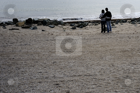 Love and sea stock photo, Romantic scene with a couple looking at sea by Dragos Iliescu