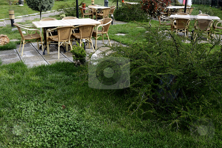 Furniture for gardens stock photo, Modern furniture for gardens and plants by Dragos Iliescu