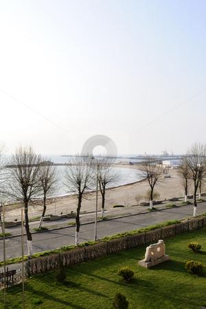 Nature near the sea stock photo, Scene with trees near the sea by Dragos Iliescu