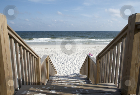 To the Beach stock photo, Stairway leading to the beach on the Alabama gulf coast. by Darryl Vest