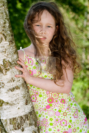 Child and the tree stock photo, Young beatifull woman with good weather in the nature by Frenk and Danielle Kaufmann