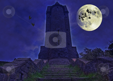 Halloween spooky tower stock photo, A dark spooky tower bathed in moonshine with bats flying round halloween concept wallpaper background by Stephen Mcnally