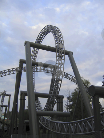 Roller coaster stock photo, Loop of the roller coaster of the amusement park of Tampere, Finland by Alessandro Rizzolli