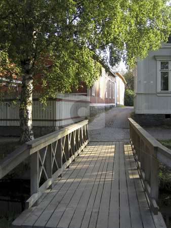 Bridge to the old town stock photo, Wooden bridge to the old town of Rauma, Finland by Alessandro Rizzolli