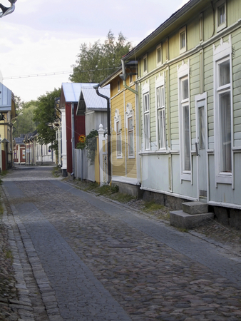 Narrow street in the old town stock photo, Narrow street in the old town of Rauma, Finland by Alessandro Rizzolli