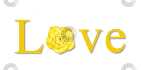 Love Flower Yellow stock photo, The text love with a flower on white background. by Henrik Lehnerer