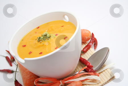 Fresh soup stock photo, Fresh soup of carrots by Yvonne Bogdanski