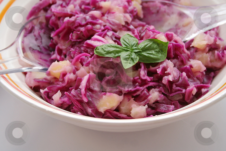 Fresh salad stock photo, Fresh salad of red cabbage by Yvonne Bogdanski