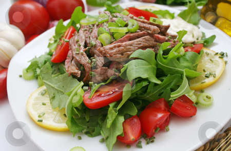 Fresh salad with beef stock photo, Fresh salad with beef by Yvonne Bogdanski