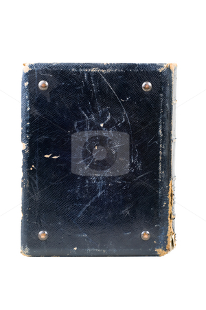 Old book stock photo, Old hardcover book with metal bolts by Mikhail Egorov