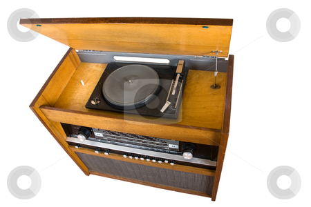 Old radio receiver stock photo, Old radio receiver combined with vinyl player by Mikhail Egorov