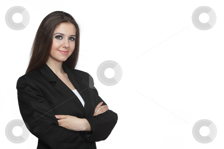 Young business woman over white stock photo, Young business woman looking at the camera over white by Ivelin Radkov