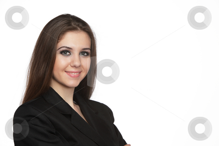 Smiling young business woman stock photo, Smiling young business woman over white background by Ivelin Radkov