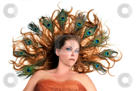 Redhead With Peacock Feathers in Her Hair on White Background stock photo, Autumn Fairy Concept - Redhead With Peacock Feathers in Her Hair on White Background by Seb Coursol