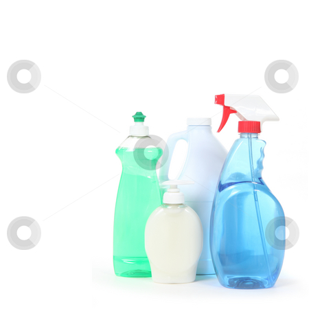 Household Cleaning Products Dishsoap Window Cleaner and Bleach stock photo, Household Cleaning Products Dishsoap Window Cleaner and Bleach on White Background by Katrina Brown