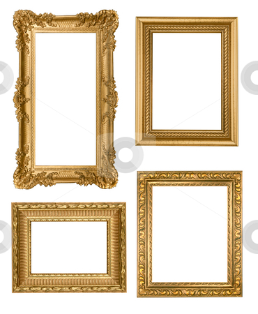 Vintage Detailed Gold Empty Picure Frames stock photo, Decorative Gold Empty Wall Picture Frames Insert Your Own Design by Katrina Brown
